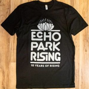 Black tshirt with grey Echo Park Rising 10 Years of Rising logo