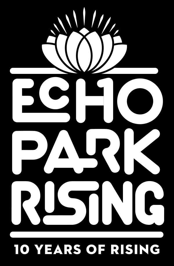 10 Years of Rising logo - Black background
